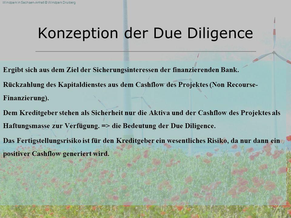 Windpark in Sachsen-Anhalt © Windpark Druiberg Konzeption der Due Diligence Ergibt sich aus dem Ziel der Sicherungsinteressen der finanzierenden Bank.