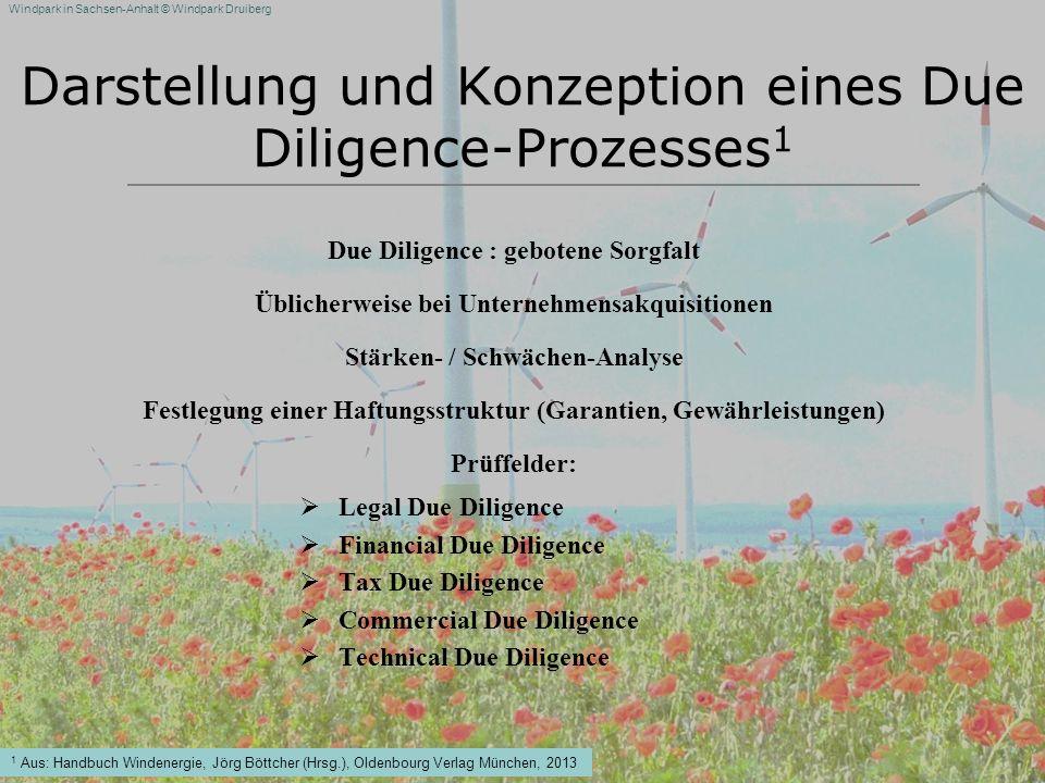 Windpark in Sachsen-Anhalt © Windpark Druiberg Darstellung und Konzeption eines Due Diligence-Prozesses 1 Due Diligence : gebotene Sorgfalt Üblicherwe