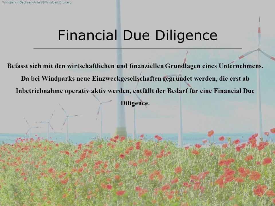 Windpark in Sachsen-Anhalt © Windpark Druiberg Financial Due Diligence Befasst sich mit den wirtschaftlichen und finanziellen Grundlagen eines Unterne