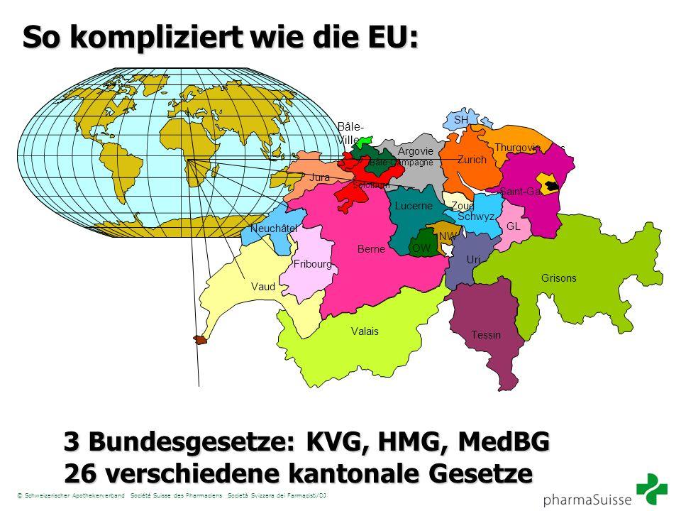 © Schweizerischer Apothekerverband Société Suisse des Pharmaciens Società Svizzera dei Farmacisti/DJ So kompliziert wie die EU: Jura Valais Grisons Ur