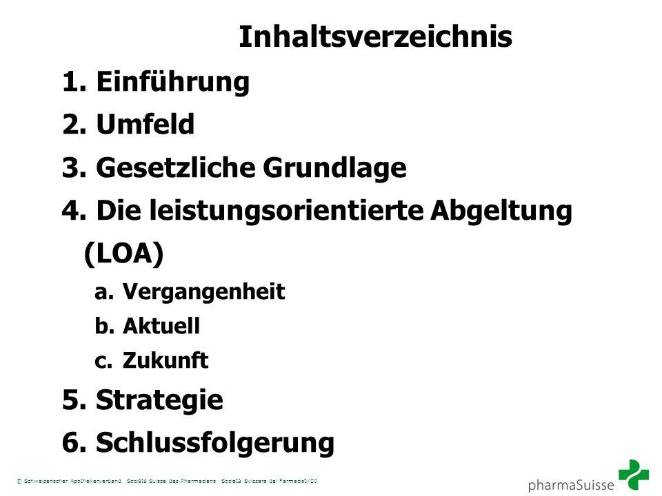 Inhaltsverzeichnis 1. Einführung 2. Umfeld 3. Gesetzliche Grundlage 4. Die leistungsorientierte Abgeltung (LOA) a. Vergangenheit b. Aktuell c. Zukunft
