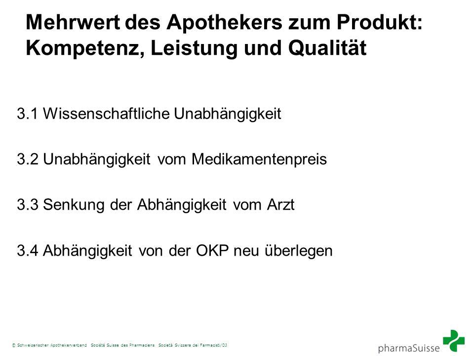 © Schweizerischer Apothekerverband Société Suisse des Pharmaciens Società Svizzera dei Farmacisti/DJ Mehrwert des Apothekers zum Produkt: Kompetenz, L