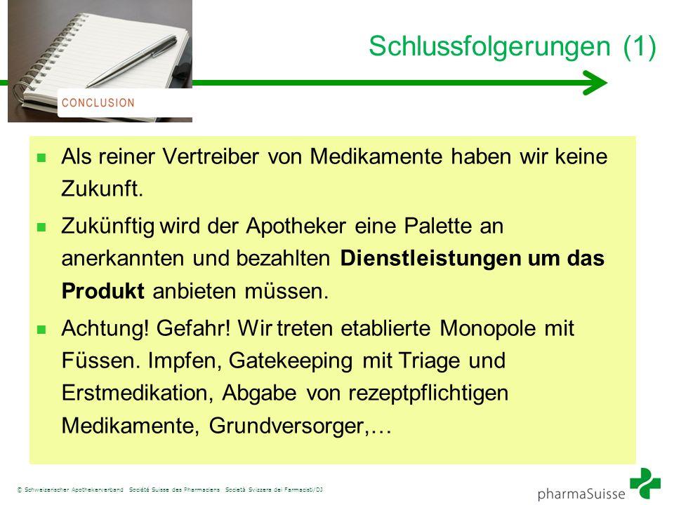 © Schweizerischer Apothekerverband Société Suisse des Pharmaciens Società Svizzera dei Farmacisti/DJ Schlussfolgerungen (1) Als reiner Vertreiber von