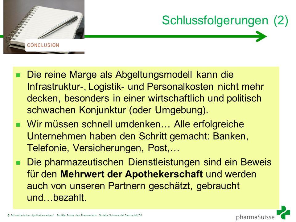 © Schweizerischer Apothekerverband Société Suisse des Pharmaciens Società Svizzera dei Farmacisti/DJ Schlussfolgerungen (2) Die reine Marge als Abgelt