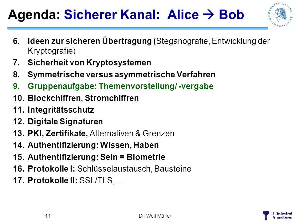 IT-Sicherheit Grundlagen Agenda: Sicherer Kanal: Alice Bob 6.Ideen zur sicheren Übertragung (Steganografie, Entwicklung der Kryptografie) 7.Sicherheit