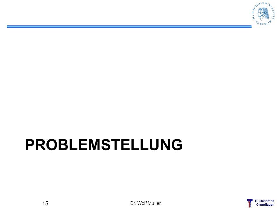IT-Sicherheit Grundlagen PROBLEMSTELLUNG Dr. Wolf Müller 15