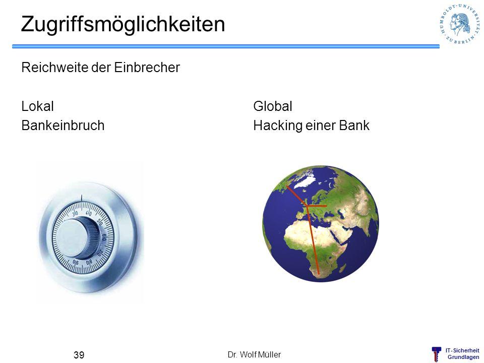 IT-Sicherheit Grundlagen Zugriffsmöglichkeiten Reichweite der Einbrecher Lokal Bankeinbruch Global Hacking einer Bank Dr. Wolf Müller 39