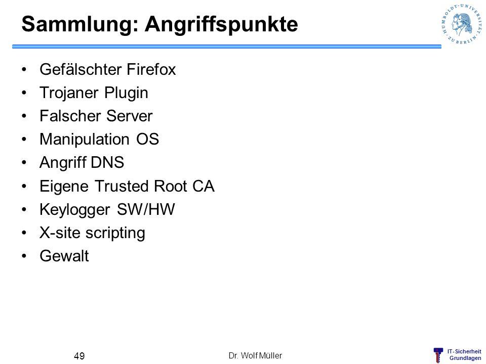 IT-Sicherheit Grundlagen Sammlung: Angriffspunkte Gefälschter Firefox Trojaner Plugin Falscher Server Manipulation OS Angriff DNS Eigene Trusted Root