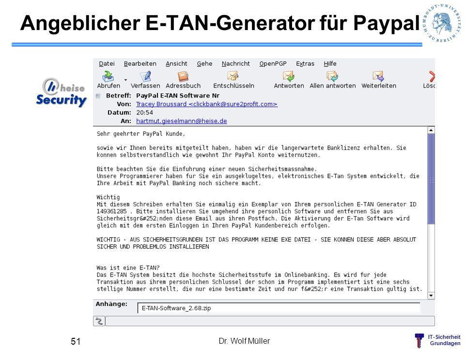 IT-Sicherheit Grundlagen Angeblicher E-TAN-Generator für Paypal Dr. Wolf Müller 51