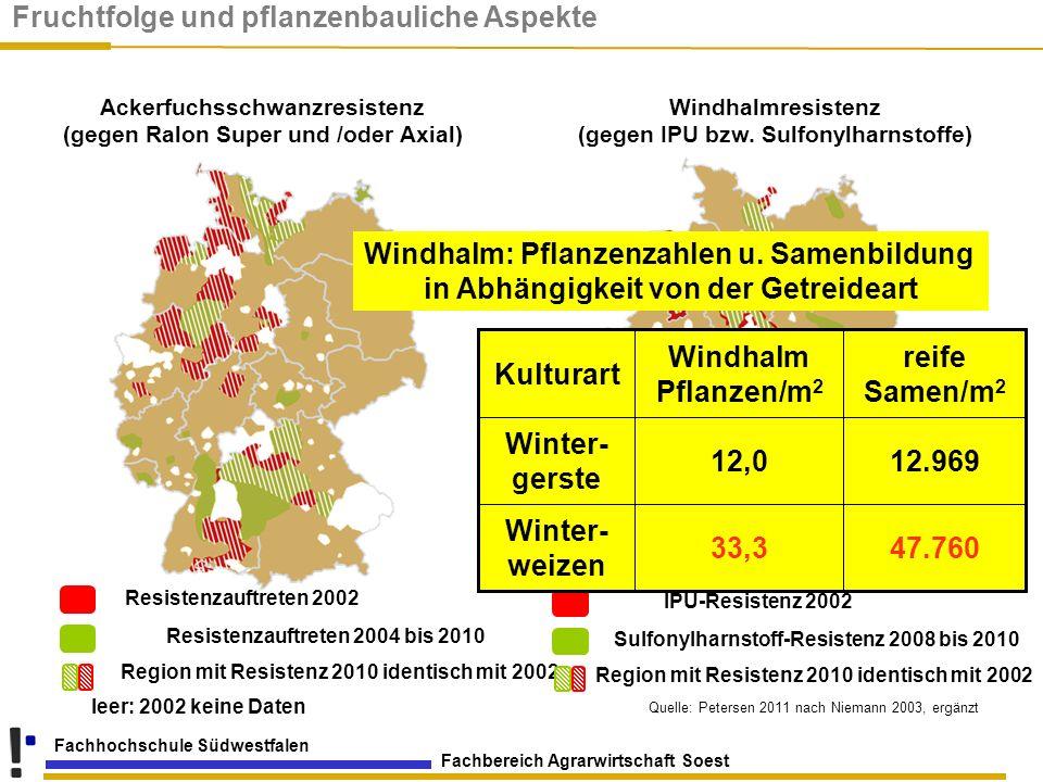 Fachbereich Agrarwirtschaft Soest Fachhochschule Südwestfalen leer: 2002 keine Daten Resistenzauftreten 2002 Resistenzauftreten 2004 bis 2010 Region m