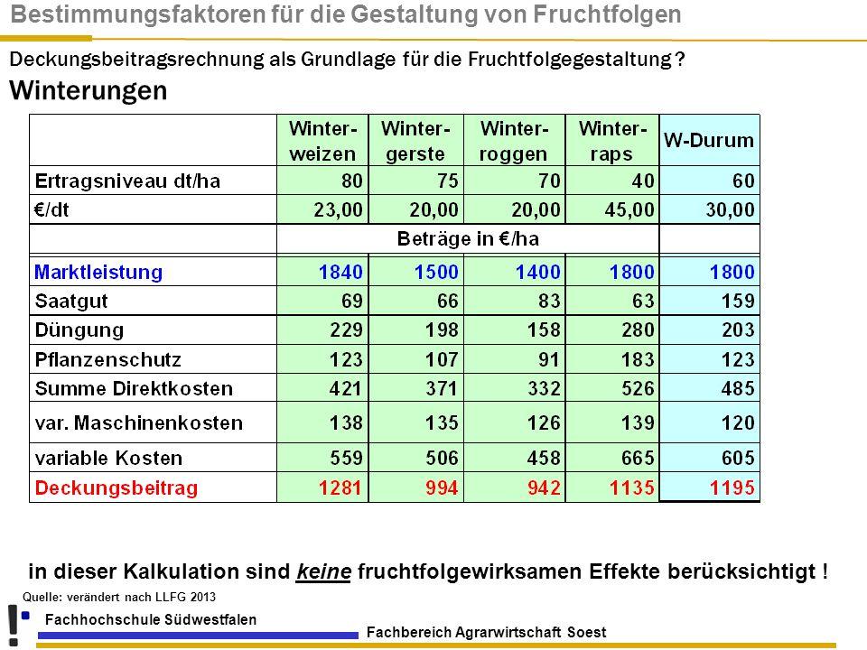 Fachbereich Agrarwirtschaft Soest Fachhochschule Südwestfalen Quelle: verändert nach LLFG 2013 in dieser Kalkulation sind keine fruchtfolgewirksamen E
