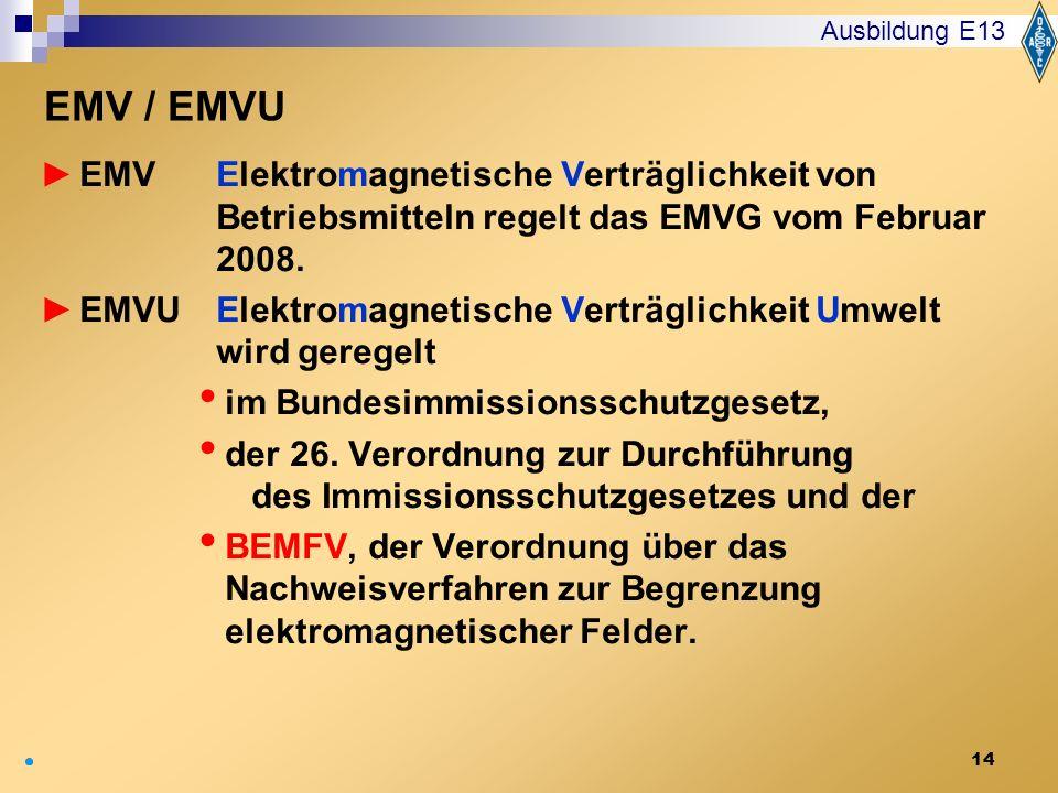 14 EMV Elektromagnetische Verträglichkeit von Betriebsmitteln regelt das EMVG vom Februar 2008. EMVU Elektromagnetische Verträglichkeit Umwelt wird ge
