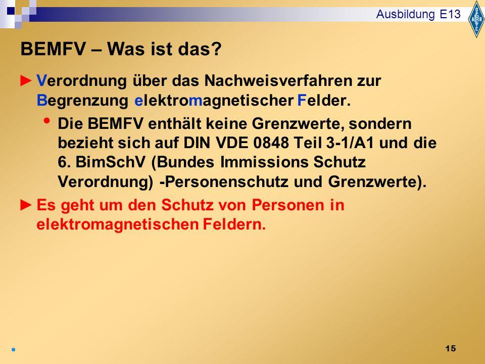 15 Verordnung über das Nachweisverfahren zur Begrenzung elektromagnetischer Felder. Die BEMFV enthält keine Grenzwerte, sondern bezieht sich auf DIN V