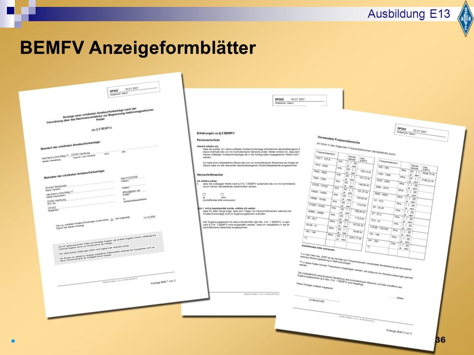 36 Ausbildung E13 BEMFV Anzeigeformblätter