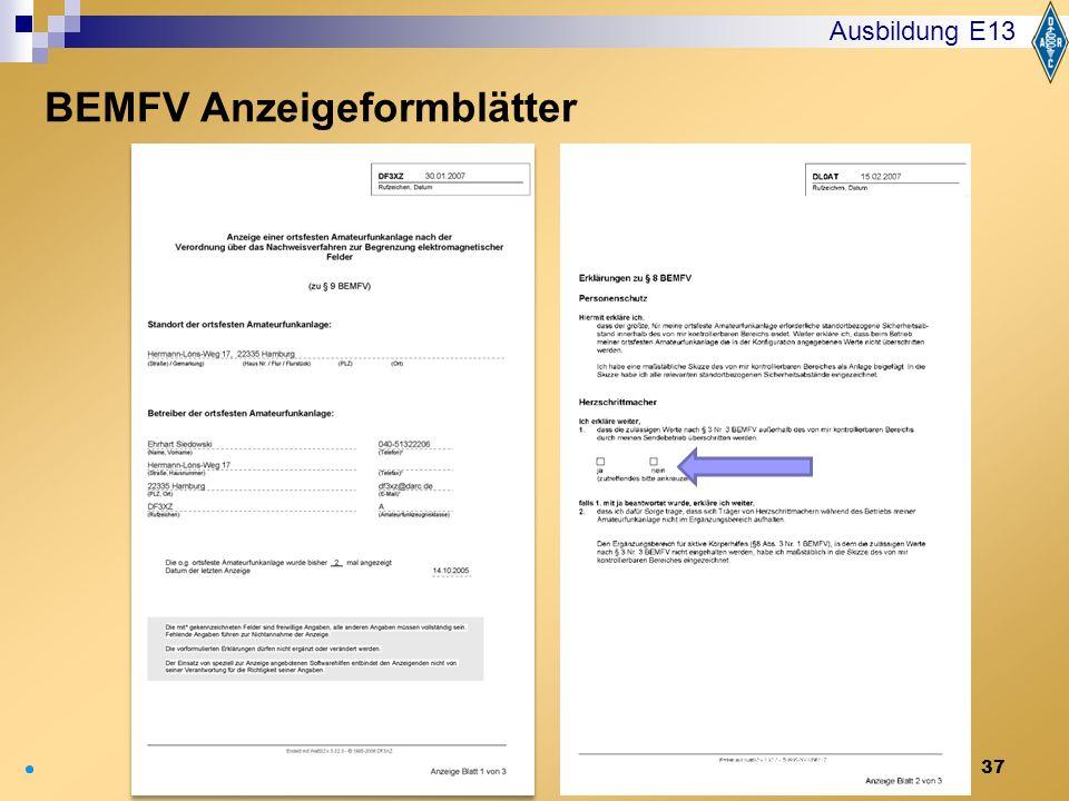 37 Ausbildung E13 BEMFV Anzeigeformblätter