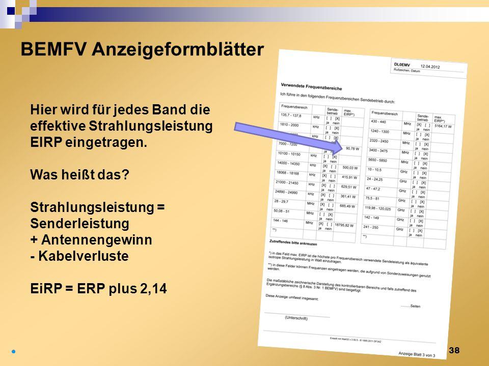 38 BEMFV Anzeigeformblätter Hier wird für jedes Band die effektive Strahlungsleistung EIRP eingetragen. Was heißt das? Strahlungsleistung = Senderleis