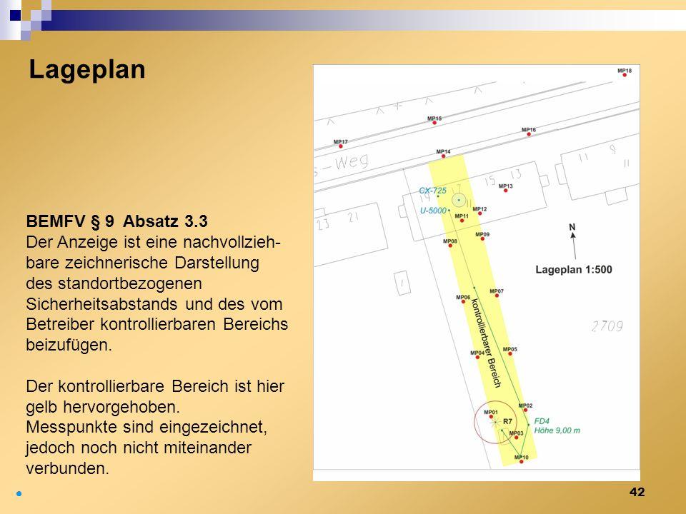 42 Lageplan BEMFV § 9 Absatz 3.3 Der Anzeige ist eine nachvollzieh- bare zeichnerische Darstellung des standortbezogenen Sicherheitsabstands und des v