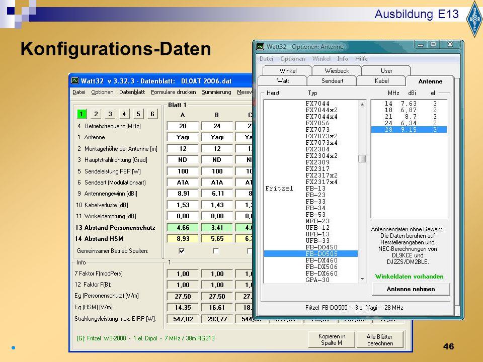 46 Ausbildung E13 Konfigurations-Daten