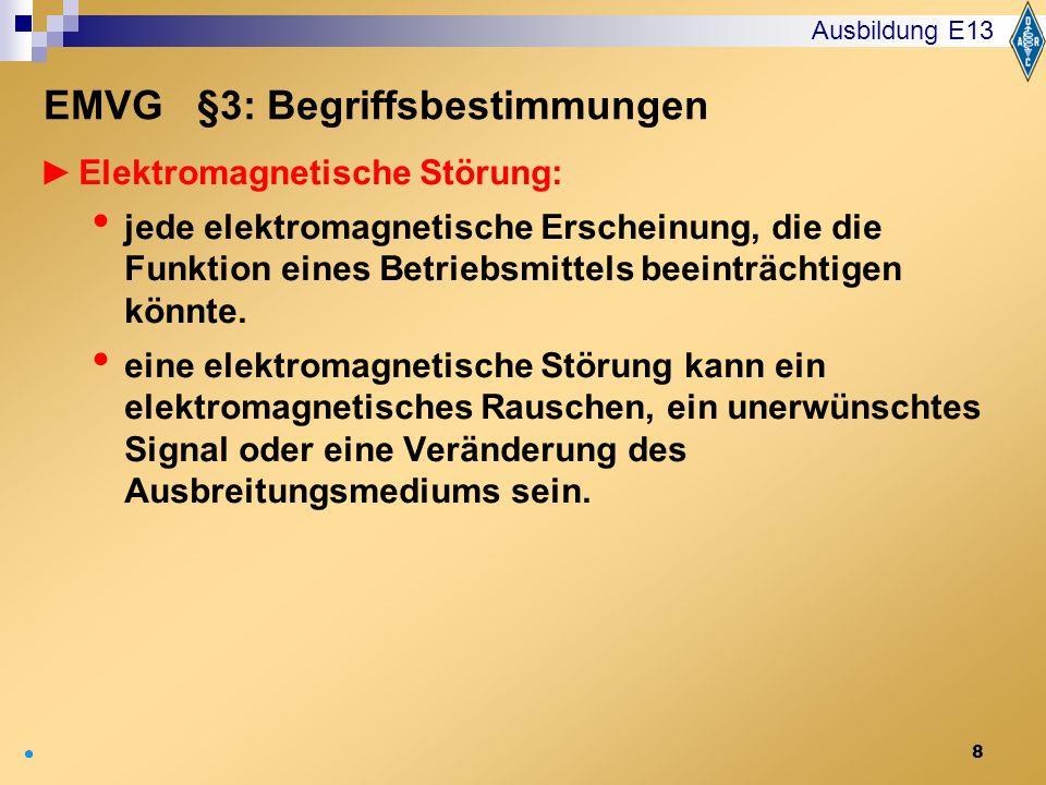 8 Elektromagnetische Störung: jede elektromagnetische Erscheinung, die die Funktion eines Betriebsmittels beeinträchtigen könnte. eine elektromagnetis