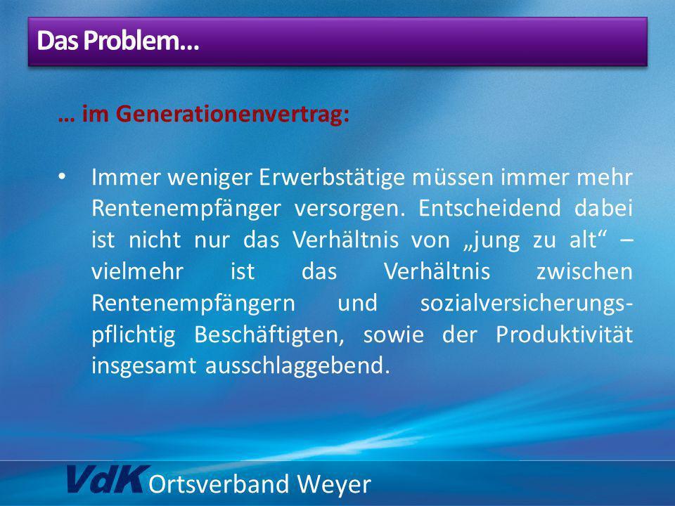 VdK Ortsverband Weyer … im Generationenvertrag: Immer weniger Erwerbstätige müssen immer mehr Rentenempfänger versorgen. Entscheidend dabei ist nicht