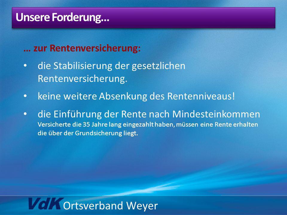 VdK Ortsverband Weyer … zur Rentenversicherung: die Stabilisierung der gesetzlichen Rentenversicherung. keine weitere Absenkung des Rentenniveaus! die