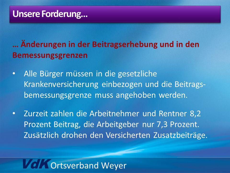 VdK Ortsverband Weyer … Änderungen in der Beitragserhebung und in den Bemessungsgrenzen Alle Bürger müssen in die gesetzliche Krankenversicherung einb