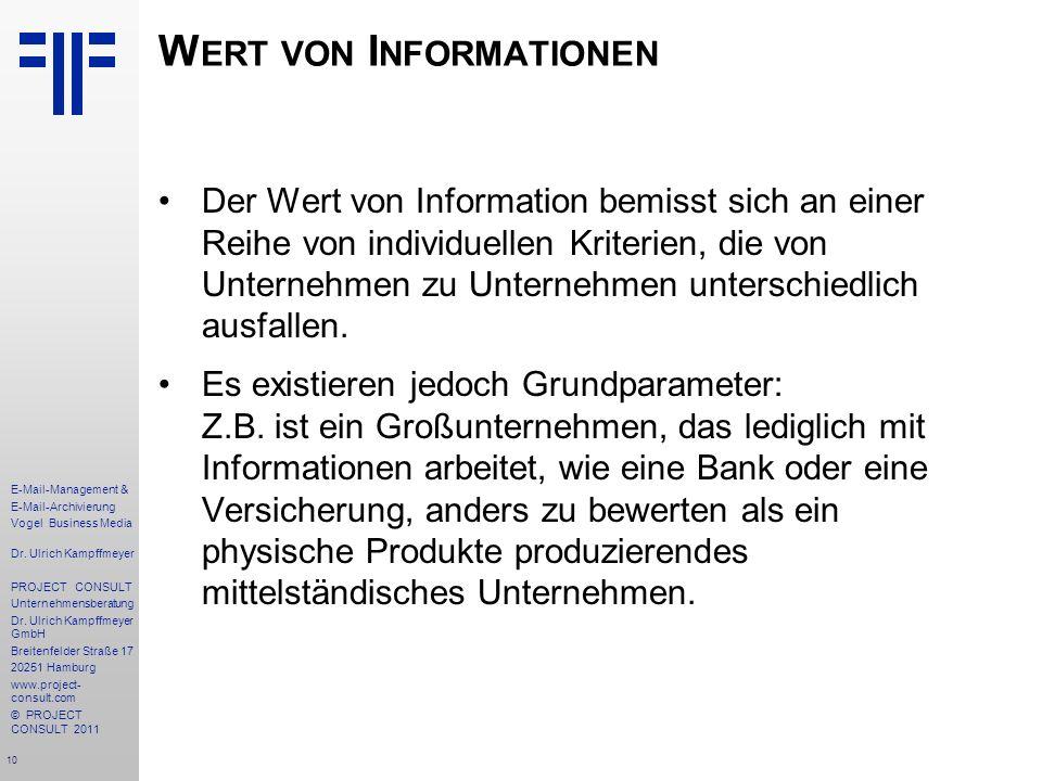 10 E-Mail-Management & E-Mail-Archivierung Vogel Business Media Dr. Ulrich Kampffmeyer PROJECT CONSULT Unternehmensberatung Dr. Ulrich Kampffmeyer Gmb
