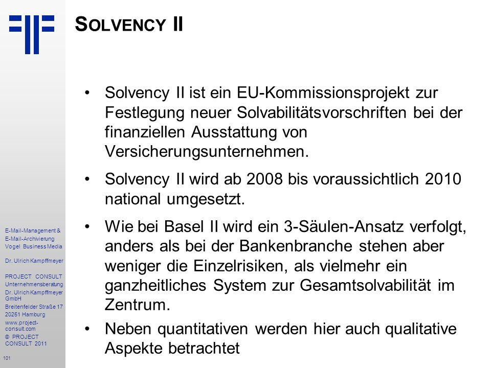 101 E-Mail-Management & E-Mail-Archivierung Vogel Business Media Dr. Ulrich Kampffmeyer PROJECT CONSULT Unternehmensberatung Dr. Ulrich Kampffmeyer Gm