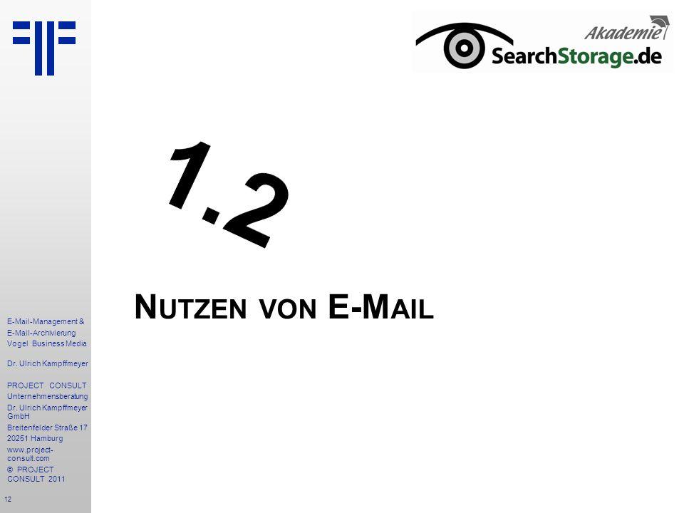 12 E-Mail-Management & E-Mail-Archivierung Vogel Business Media Dr. Ulrich Kampffmeyer PROJECT CONSULT Unternehmensberatung Dr. Ulrich Kampffmeyer Gmb