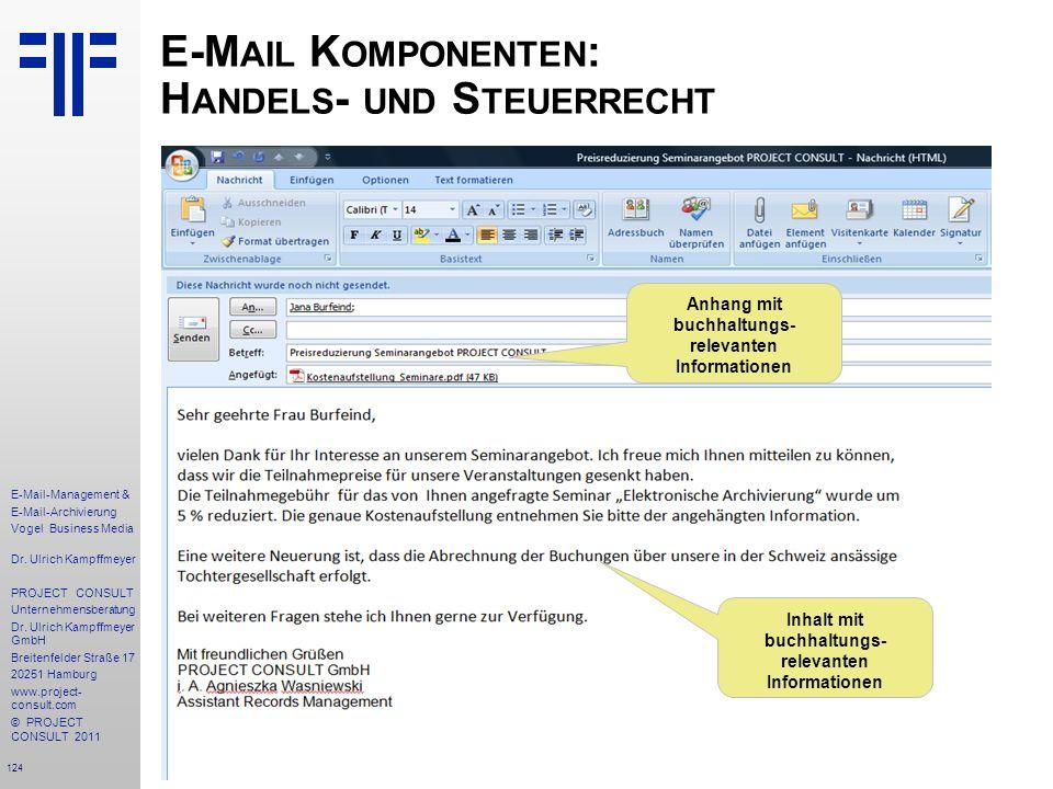 124 E-Mail-Management & E-Mail-Archivierung Vogel Business Media Dr. Ulrich Kampffmeyer PROJECT CONSULT Unternehmensberatung Dr. Ulrich Kampffmeyer Gm