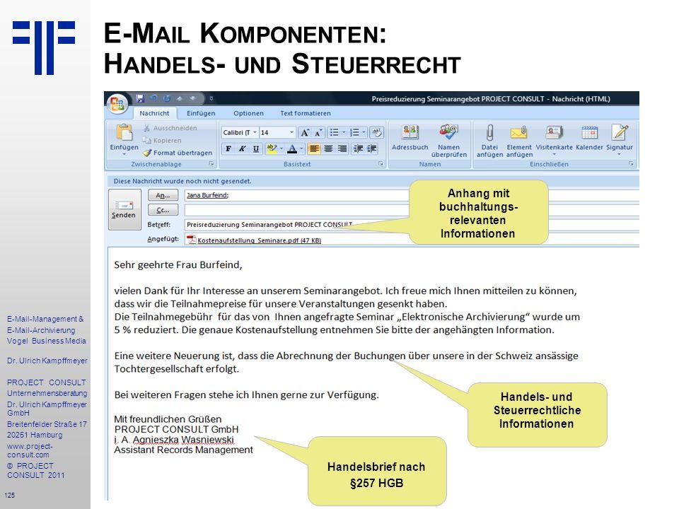 125 E-Mail-Management & E-Mail-Archivierung Vogel Business Media Dr. Ulrich Kampffmeyer PROJECT CONSULT Unternehmensberatung Dr. Ulrich Kampffmeyer Gm