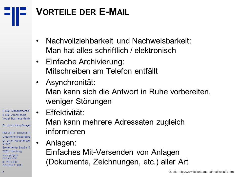 13 E-Mail-Management & E-Mail-Archivierung Vogel Business Media Dr. Ulrich Kampffmeyer PROJECT CONSULT Unternehmensberatung Dr. Ulrich Kampffmeyer Gmb