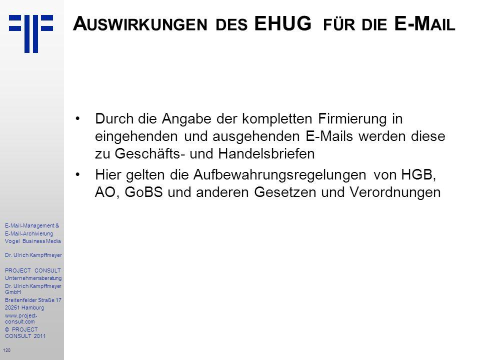 130 E-Mail-Management & E-Mail-Archivierung Vogel Business Media Dr. Ulrich Kampffmeyer PROJECT CONSULT Unternehmensberatung Dr. Ulrich Kampffmeyer Gm
