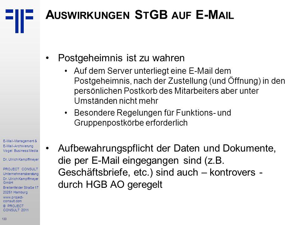 133 E-Mail-Management & E-Mail-Archivierung Vogel Business Media Dr. Ulrich Kampffmeyer PROJECT CONSULT Unternehmensberatung Dr. Ulrich Kampffmeyer Gm