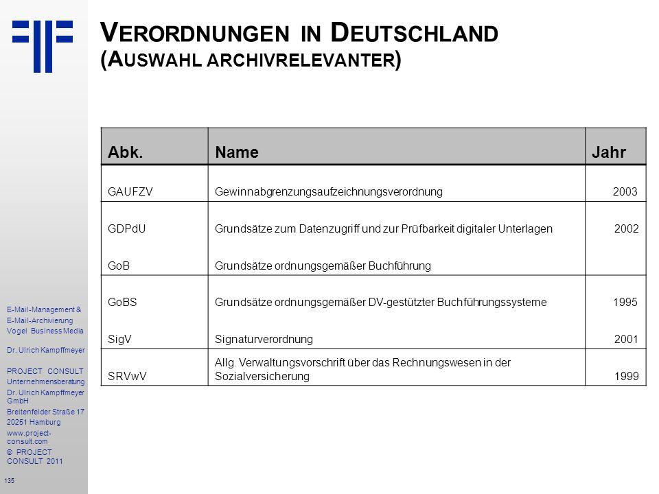 135 E-Mail-Management & E-Mail-Archivierung Vogel Business Media Dr. Ulrich Kampffmeyer PROJECT CONSULT Unternehmensberatung Dr. Ulrich Kampffmeyer Gm