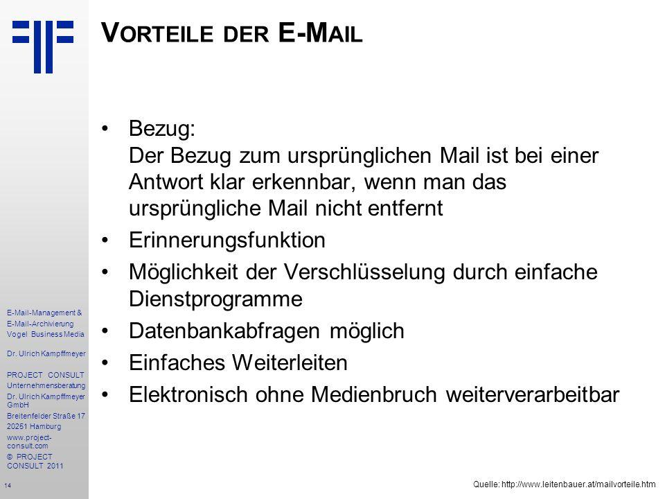 14 E-Mail-Management & E-Mail-Archivierung Vogel Business Media Dr. Ulrich Kampffmeyer PROJECT CONSULT Unternehmensberatung Dr. Ulrich Kampffmeyer Gmb
