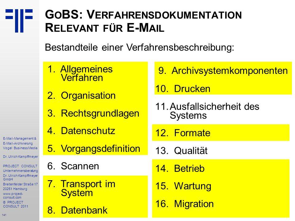 141 E-Mail-Management & E-Mail-Archivierung Vogel Business Media Dr. Ulrich Kampffmeyer PROJECT CONSULT Unternehmensberatung Dr. Ulrich Kampffmeyer Gm