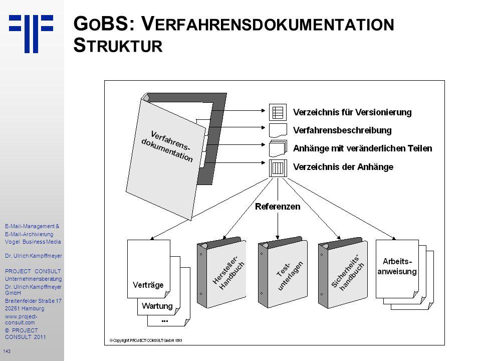 143 E-Mail-Management & E-Mail-Archivierung Vogel Business Media Dr. Ulrich Kampffmeyer PROJECT CONSULT Unternehmensberatung Dr. Ulrich Kampffmeyer Gm