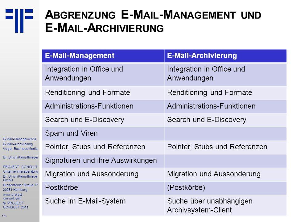 178 E-Mail-Management & E-Mail-Archivierung Vogel Business Media Dr. Ulrich Kampffmeyer PROJECT CONSULT Unternehmensberatung Dr. Ulrich Kampffmeyer Gm