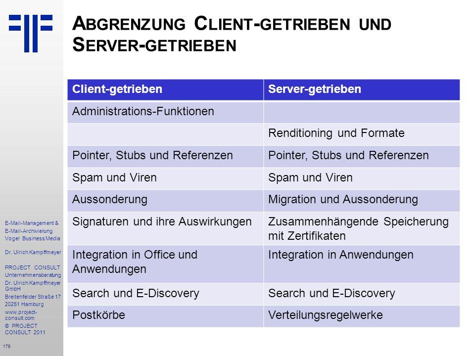 179 E-Mail-Management & E-Mail-Archivierung Vogel Business Media Dr. Ulrich Kampffmeyer PROJECT CONSULT Unternehmensberatung Dr. Ulrich Kampffmeyer Gm