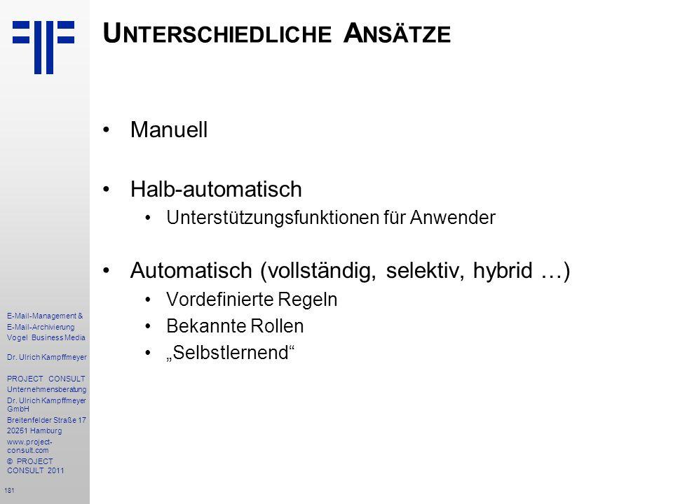 181 E-Mail-Management & E-Mail-Archivierung Vogel Business Media Dr. Ulrich Kampffmeyer PROJECT CONSULT Unternehmensberatung Dr. Ulrich Kampffmeyer Gm