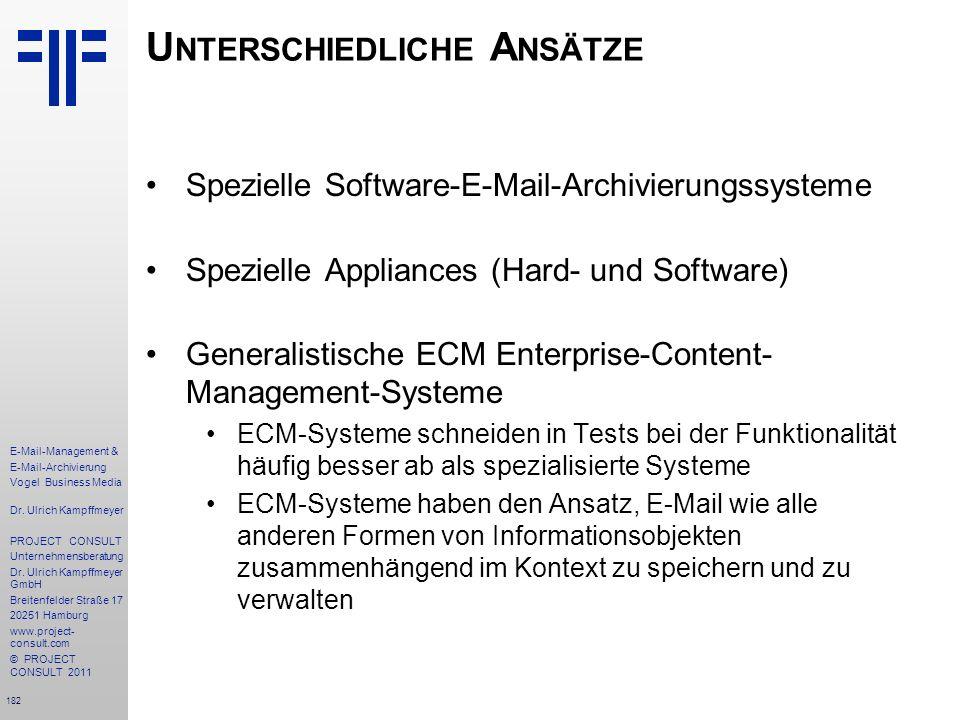 182 E-Mail-Management & E-Mail-Archivierung Vogel Business Media Dr. Ulrich Kampffmeyer PROJECT CONSULT Unternehmensberatung Dr. Ulrich Kampffmeyer Gm