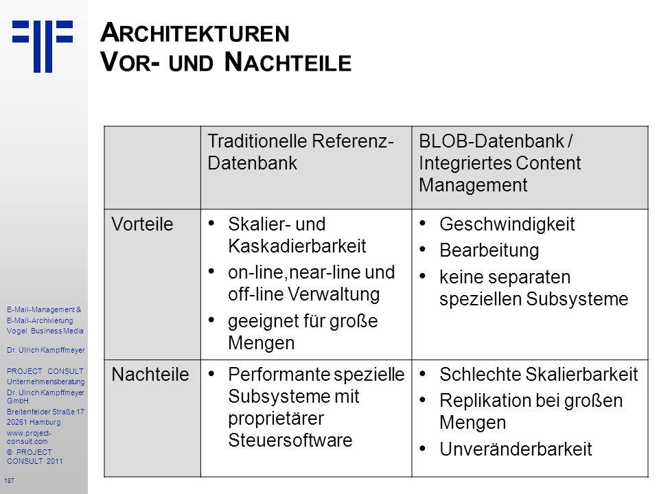 187 E-Mail-Management & E-Mail-Archivierung Vogel Business Media Dr. Ulrich Kampffmeyer PROJECT CONSULT Unternehmensberatung Dr. Ulrich Kampffmeyer Gm