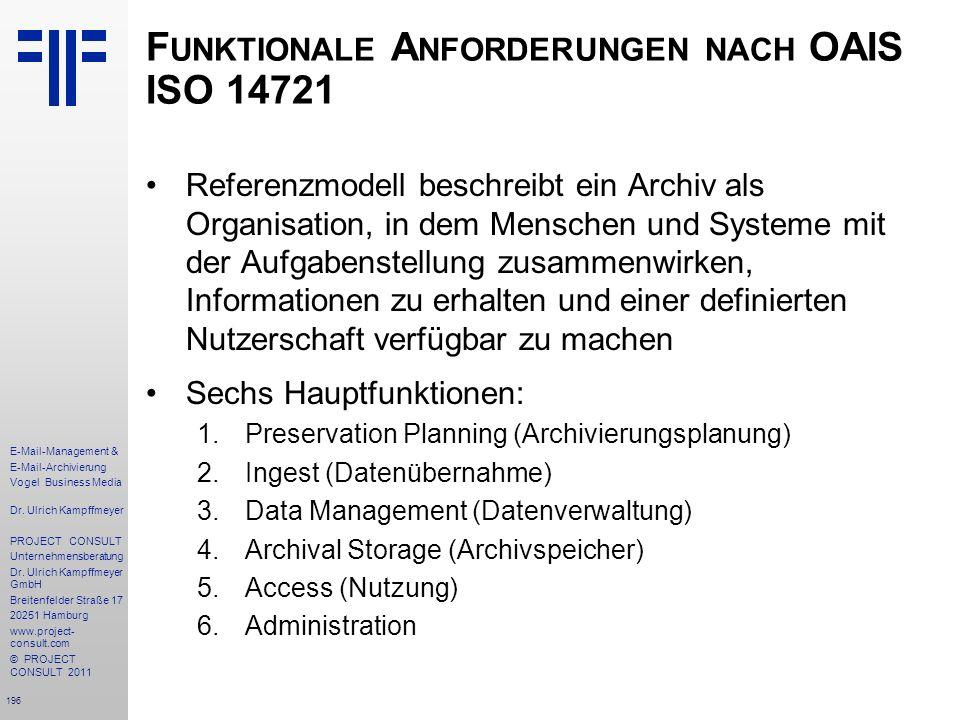 196 E-Mail-Management & E-Mail-Archivierung Vogel Business Media Dr. Ulrich Kampffmeyer PROJECT CONSULT Unternehmensberatung Dr. Ulrich Kampffmeyer Gm