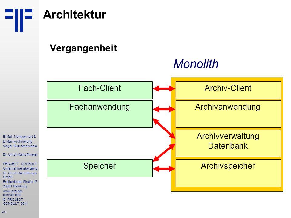 208 E-Mail-Management & E-Mail-Archivierung Vogel Business Media Dr. Ulrich Kampffmeyer PROJECT CONSULT Unternehmensberatung Dr. Ulrich Kampffmeyer Gm
