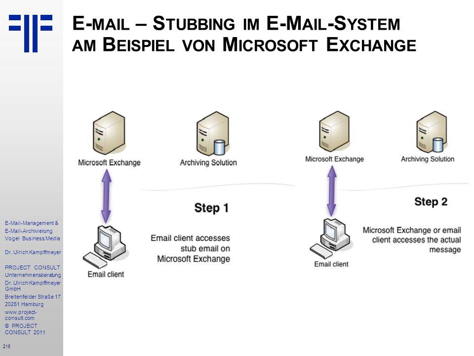 216 E-Mail-Management & E-Mail-Archivierung Vogel Business Media Dr. Ulrich Kampffmeyer PROJECT CONSULT Unternehmensberatung Dr. Ulrich Kampffmeyer Gm