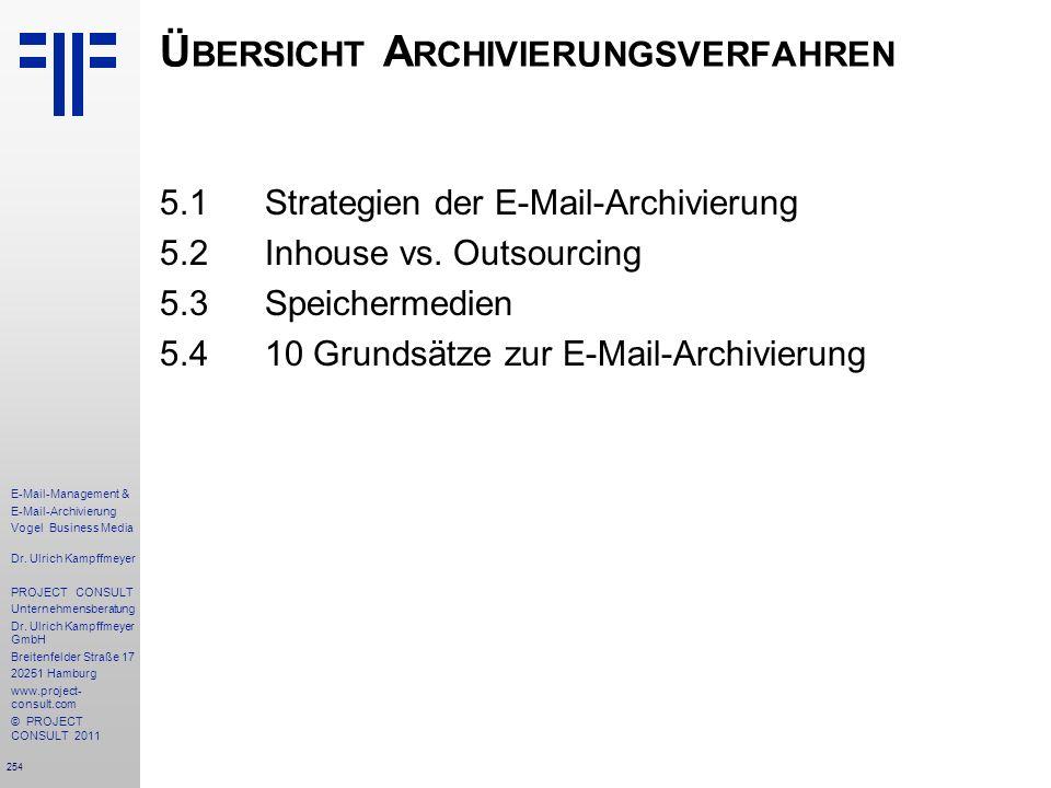 254 E-Mail-Management & E-Mail-Archivierung Vogel Business Media Dr. Ulrich Kampffmeyer PROJECT CONSULT Unternehmensberatung Dr. Ulrich Kampffmeyer Gm