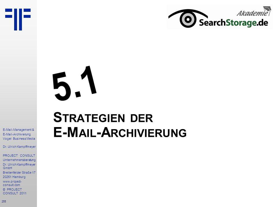 255 E-Mail-Management & E-Mail-Archivierung Vogel Business Media Dr. Ulrich Kampffmeyer PROJECT CONSULT Unternehmensberatung Dr. Ulrich Kampffmeyer Gm