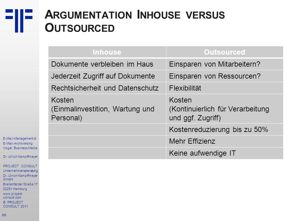 263 E-Mail-Management & E-Mail-Archivierung Vogel Business Media Dr. Ulrich Kampffmeyer PROJECT CONSULT Unternehmensberatung Dr. Ulrich Kampffmeyer Gm
