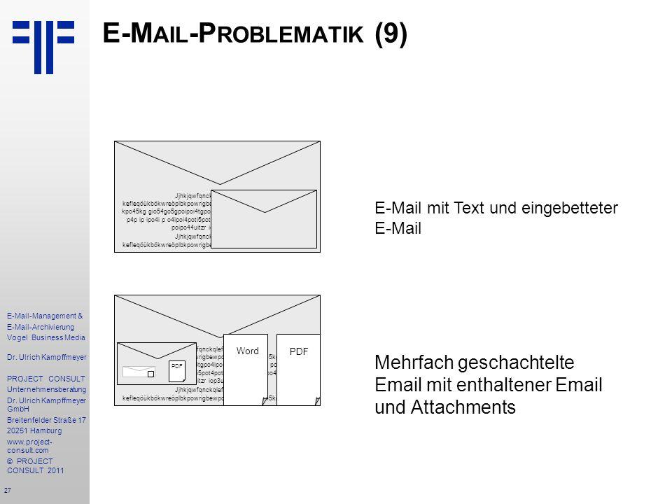 27 E-Mail-Management & E-Mail-Archivierung Vogel Business Media Dr. Ulrich Kampffmeyer PROJECT CONSULT Unternehmensberatung Dr. Ulrich Kampffmeyer Gmb